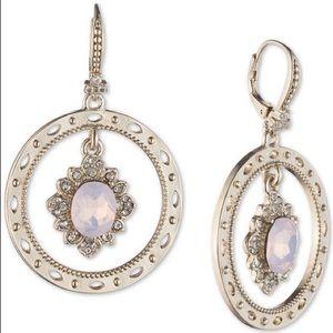 Marchesa Gold Crystal Orbital Drop Earrings